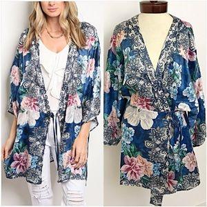 Sweaters - Stunning Silky Floral Kimono Wrap Coverup SMLXL